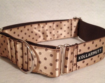 """1.5"""" Martingale or Buckle- Brown Polka Dots"""