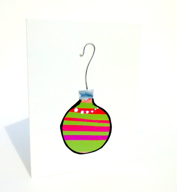 Whimsical Christmas Card with a Tree Ornament Design Hand Painted in Green and Pink with Silver Cap and Hook