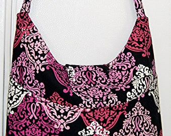 Large Hobo Purse of Pink Ribbon Breast Cancer awareness fabric