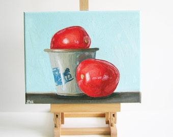 Tomato Oil Painting - Still Life Original Fine Art Painting - Twice the Fun