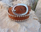 Premium Leather, Studded belt with Oversized Hammered Buckle - RavenAngelLeather
