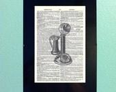 Vintage Dictionary Prints - Upright Telephone - Framed