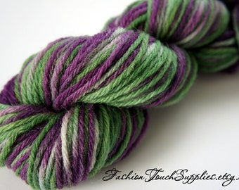 Mums, Hand Painted Yarn in Deep Purple and Green