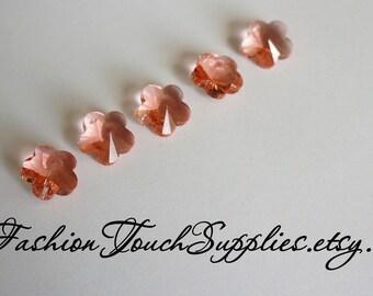 Glass Beads, Bead, Supplies, Czech glass 14mm Blush Pink Czech Glass Flower Bead Charm - 5