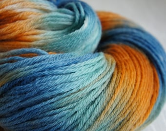 Hand Painted Yarn, Knitting Yarn, in Shades of Teal, Orange and Brown, Sunset, 200 yards