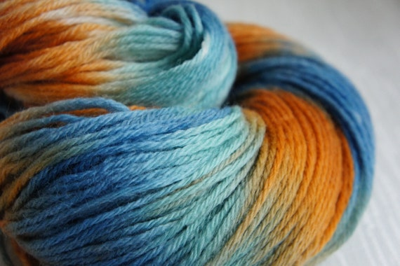 Hand Knitting Yarn : Hand Painted Yarn, Knitting Yarn, in Shades of Teal, Orange and Brown ...