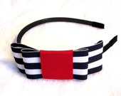Patriotic Nautical Sailor Navy and White Bow Headband, Striped Bow Headband