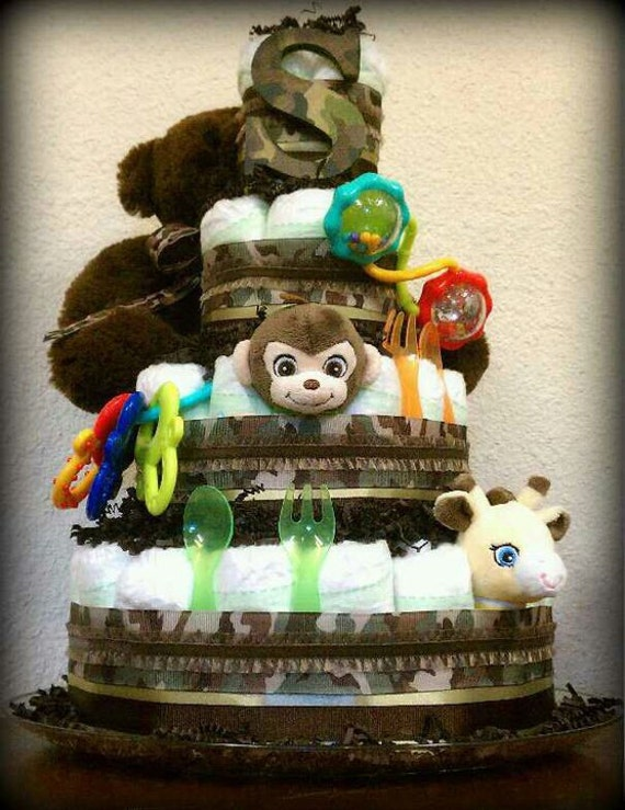 Camo Diaper Cake Decorations : Items similar to Camo Themed Baby Shower Diaper Cake on Etsy