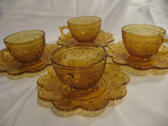 Vintage Brockway Glass American Concord Amber Cup and Saucer & Iced Tea Glasses - Set of 8