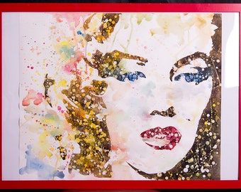 "Marilyn Monroe painting from ""More than famous"" collection 2012 (watercolor)"