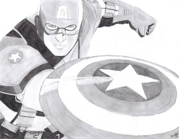 Captain America Shield Drawing: Items Similar To CAPTAIN AMERICA Sketch Original Drawing