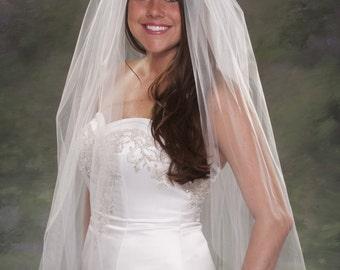 Light Ivory Bridal Veil Plain Cut 1 Layer Veil Elbow Length 36 Veils Traditional Veils 108 Wide Veils Tulle Veil Diamond White Veils