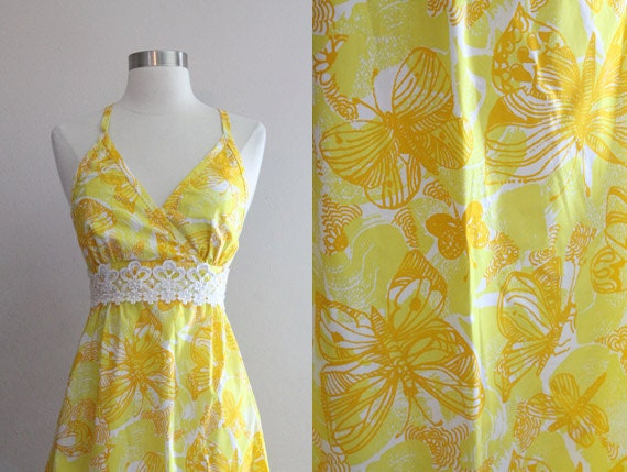 1960s Lilly Pulitzer Dress / Vintage 60s 70s The Lilly Yellow Butterfly Maxi Halter Summer Sun Dress / Boho Hippie Festival Dress - XS/S