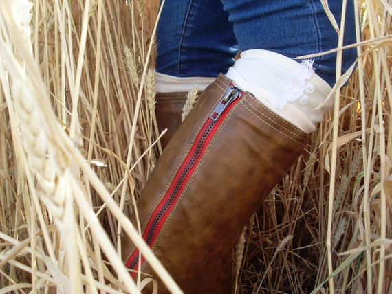 Boot Socks -- Cream Leg Warmers