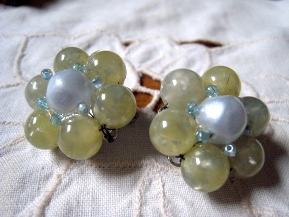 Marvella  Vintage Pale Green Cluster Earrings with Pale Blue Center Stone Clip On Bridal Weddimg Jewelry