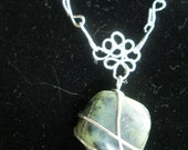 Wire Wrapped Jade Crystal with Chain