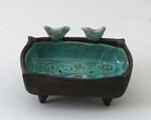 Blue Ceramic  Birds Soap Dish, Bathroom Accessories or Jewelry Bowl