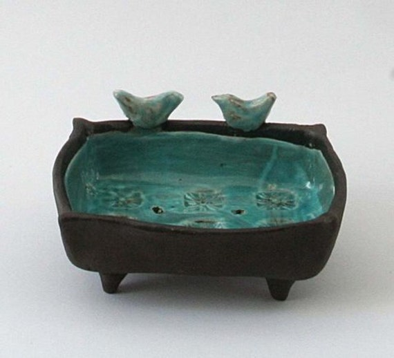 Blue Ceramic Birds Soap Dish Bathroom Accessories Or Jewelry