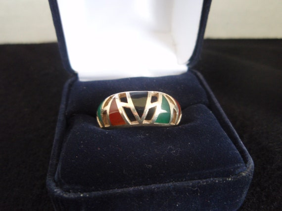 Ring Size 8 Sterling Silver  Band with Red Coral, Onyx, and Green Turquoise  Unisex Ring  Thumb Ring