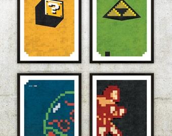 "Retro NES Series 1 Poster Set: Mario, Zelda, Metroid & Castlevania inspired prints 11X17"""