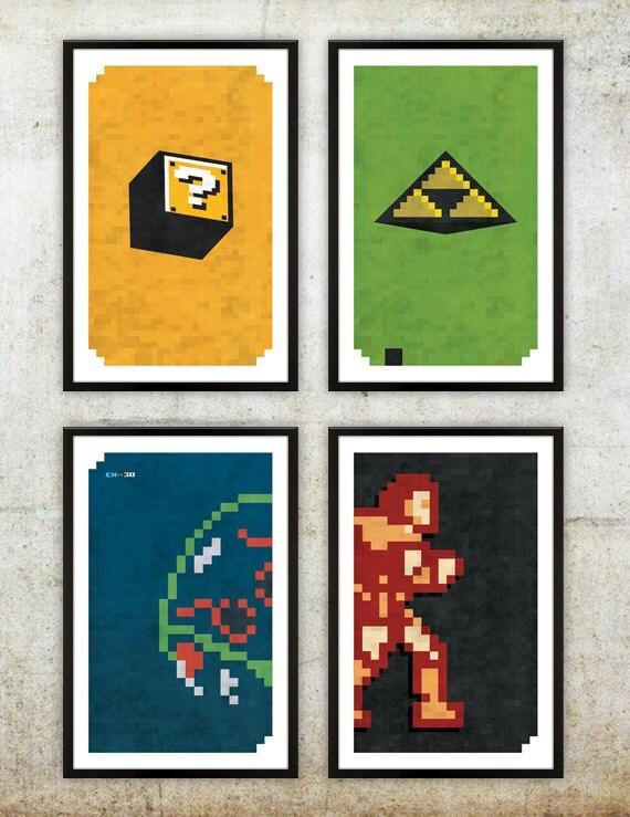 Retro Nes Series 1 Poster Set Mario Zelda Metroid