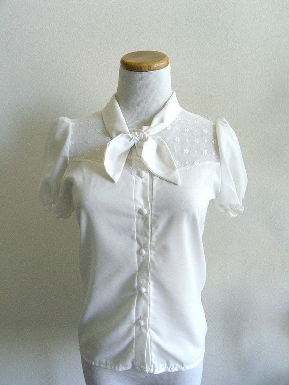 Vintage Buttercup Lace Blouse by Pink Show White XS-S