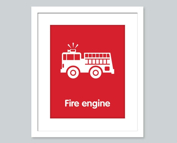 Fire truck art nursery decor nursery wall art by wallerbee for Art sites like etsy