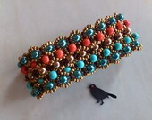 Moroccan Inspired Continuous Beaded Bracelet in Coral, Turquoise, Gold and Metallic Blue