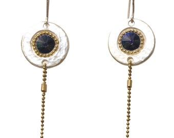 Elegant Blue Swarovski Crystal Center Hanging Earrings - Circle Silver Earring - Hanging Earrings - Geometric Shape Earrings