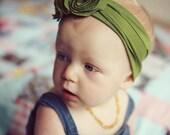 Green Triple Flower Jersey Headband