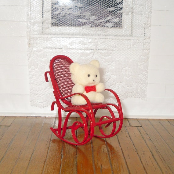 Miniature Red Rocking Chair ~ Miniature dollhouse vintage russ flocked white by bnminiatures