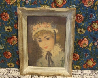 Framed Pretty Vintage Lady, Shabby Chic