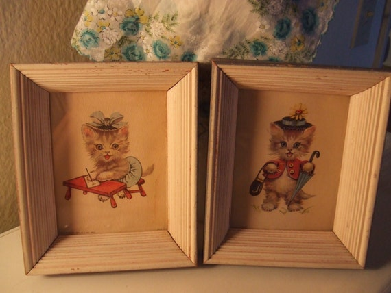 Kittens all Dressed Up picture in frame set of 2