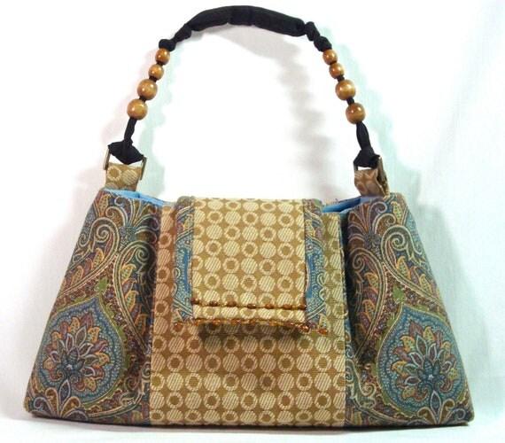 Blue Purse - Fabric Clutch - Ethnic Bag