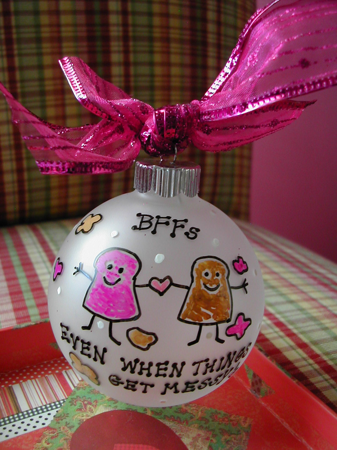 Best Friends Handpainted Glass Ornament Made To Order By