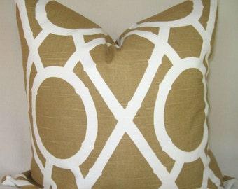Both Sides- Robert Allen Bamboo Lattice -Amber - Caramel -  Pillow Cover-Accent Pillow-Brown-Cream
