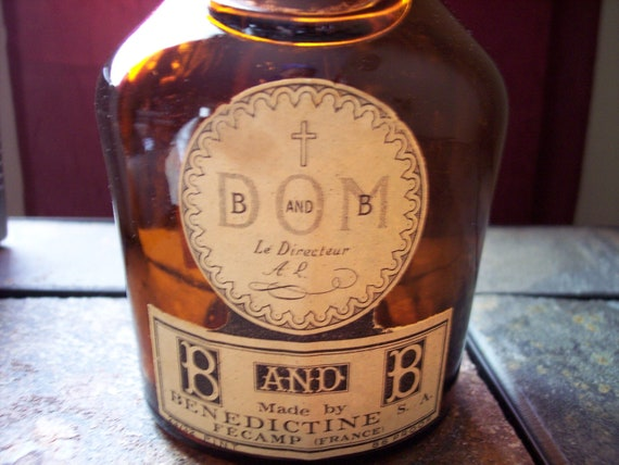 Vintage 1960s DOM B and B brown glass bottle French Benedictine and Brandy