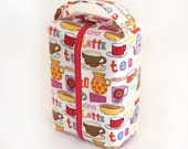 Juice/Coffee/Tea Fun Large zippered Box Tote - knitting / crochet / spinning project bag
