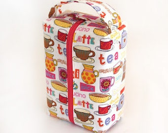 SALE Juice/Coffee/Tea Fun Large zippered Box Tote - knitting / crochet / spinning project bag