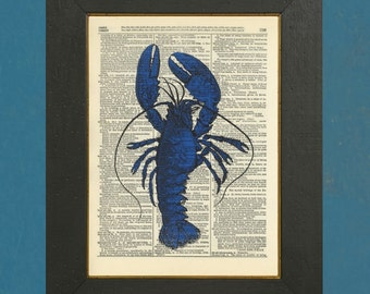 "Blue Lobster- Upcycled Dictionary Art Print 8"" X 11"""