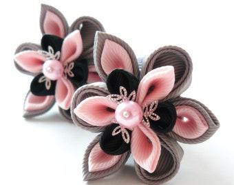 Kanzashi fabric flowers. Set of 2 ponytails . Grey, lt. pink and black.