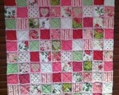Pink Roses Shabby Chic Cot Quilt