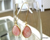 Tear Drop Strawberry Quartz 16K Gold Plated Glass Earrings Boho Bridesmaid Gift Summer Earrings