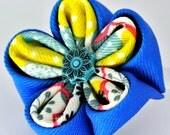 Royal blue and multicolored grosgrain ribbon  kanzashi flower hair clip