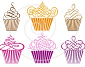Cupcakes digital clip art set, muffins, cakes, clipart for scrapbooking, logo design, graphic, vector, EPS, SVG files, instant download