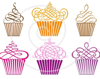 Cupcakes digital clip art set, muffins, cakes, clipart for birthday, logo design, scrapbooking, vector, EPS, SVG files, instant download