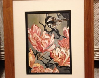 Chickadee on Magnolia Blossom - 5 x 7 acrylic painting displayed in 9 x 12 wood frame