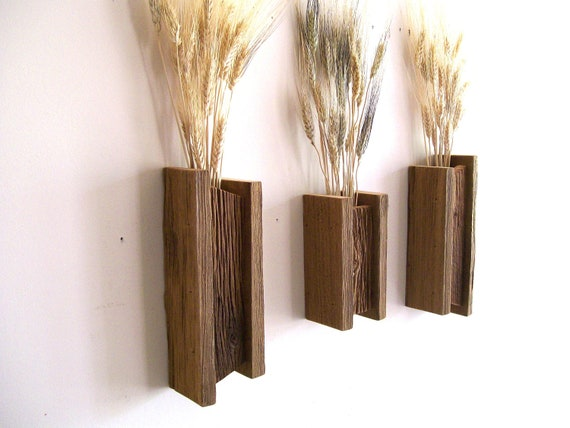 Set of 3 Rustic / Reclaimed / Barn Wood Wall Vase / Flower Sconces