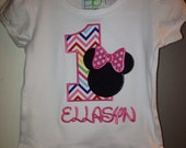Pink Chevron Birthday Shirt with Minnie Mouse