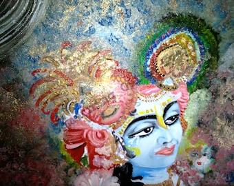 I am Krishna radha hindu original Indian fine art oil painting